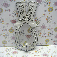 Cowboy Cowgirl Country Western Boot Horseshoe Cast Iron Classic White Shabby Style Chic Leash Lasso Ranch Barn Farmhouse Horse Shoe Hook