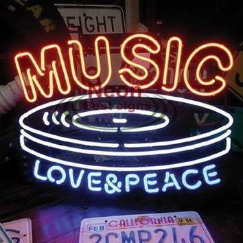 Music Love&Peace Neon Sign Real Neon Light