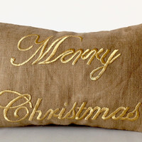Merry Christmas Gold Embroidered Handcrafted Pillow Cases