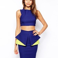 Vesper Crop Top with Square Back detail - Cobalt blue