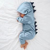 Dinosaur cartoon Hooded Romper Jumpsuit Outfits Clothes Newborn Infant Baby Boy Girl botton solid hoodie Onesuits baby set 40
