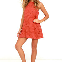 Lucy Love Sophia Rust Red Embroidered Dress