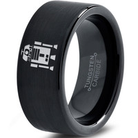 R2-D2 Inspired Black Tungsten Ring