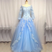 Scoop Neck Blue Pincess Ball Gown Prom Dresses Ball Gown Quinceanera Dress with Flare Sleeves