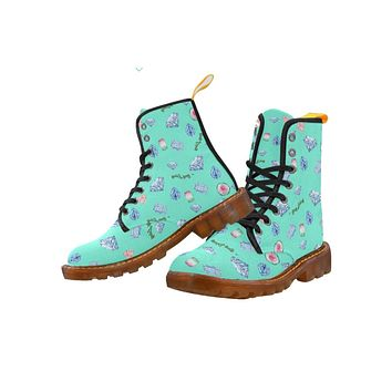 Combat Boots Crystals Design Mint - Women