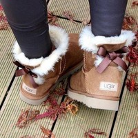 ugg women fashion bow leather wool snow boots-2
