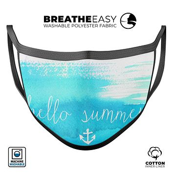 Hello Summer Blue Watercolor Anchor V2 - Made in USA Mouth Cover Unisex Anti-Dust Cotton Blend Reusable & Washable Face Mask with Adjustable Sizing for Adult or Child