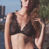 Emma Lace Inlay Bralette in Black (32D-32DD/E, 34B-D, 36B-D)