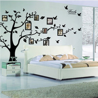 Free Shipping:Large 200*250Cm/79*99in Black 3D DIY Po Tree frame PVC Wall Decals/Adhesive Wall Stickers Mural Art Home Decor