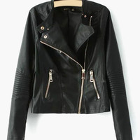 Faux Leather Front Zipper Jacket