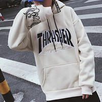 Thrasher new tide student loose ulzzang autumn and winter plus velvet ins super fire jacket  White + black words