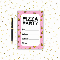Printable Party Invitation Set - Pizza Party - Pink / Purple / Red