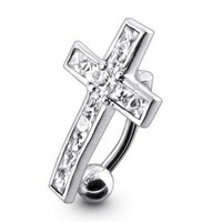 Navel Dangling Silver Belly Rings Piercing Jewelry Diamond Cl Stylish Dangling Crucifix 925 Silver with 14g-3/8 Inch 316l Steel Curved Barbell Belly Button Piercing Rings