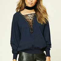TWELVE Lace-Up Front Sweater