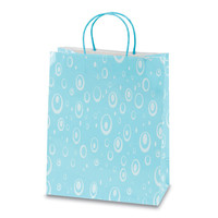 10 1/2W x 13H x 5 1/2G Large Printed savvy Pastel blue let it rain Gift Bag/Case of 60