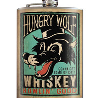 Hungry Wolf Flask 8 oz. Stainless Steel