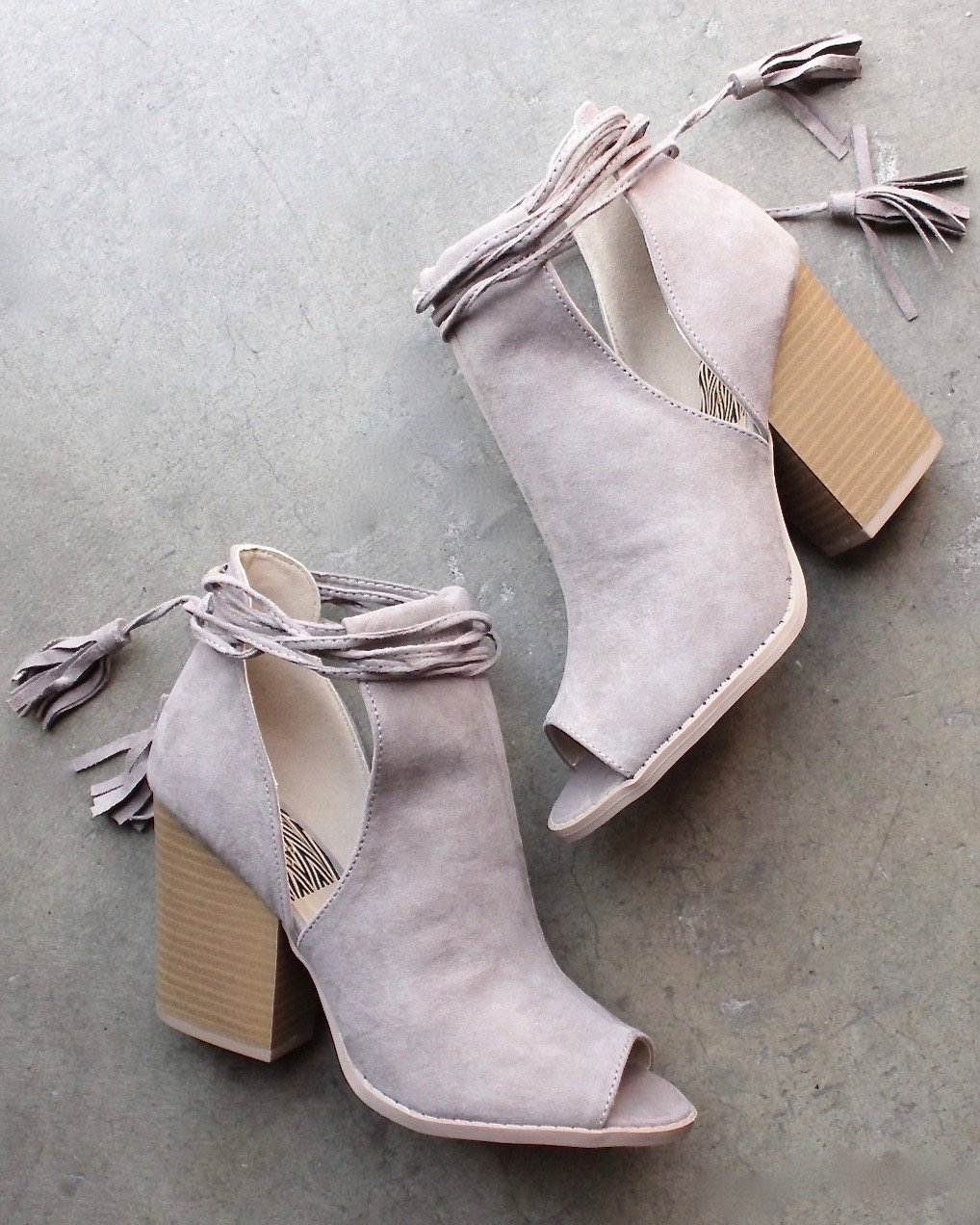Image of Final Sale - Madelynn Suede Open Toe Booties in Taupe