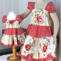 Matching Sister Easter Dresses Peasant Style Spring Fashion Children's Clothes Red Rose Girls Dress Size 5 6 7 or 8 100% Cotton
