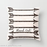 Stand Out! Arrow Graphic Print 16x16 Decorative Throw Pillow Cover Cream Chocolate Brown Archery Bow Quiver Marksman Bright Neutral