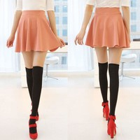 Women Candy Colors Casual A-line Flared Mini Circle Short Pleated Women Skirt