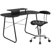 Black Computer Desk with Monitor Stand and Tractor Chair