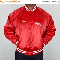 SALE XL Vintage 90s Red Satin Bomber Baseball Coach Jacket / Red White Snap Button Jacket / 90s All-Star Jacket / Daily News Jacket / Red Bo