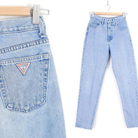 Size 4 High Waisted Guess Jeans - 80s 90s Vintage Women's Light Rinse High Rise Slim Fit Tapered Leg Mom Jeans - 26 Waist