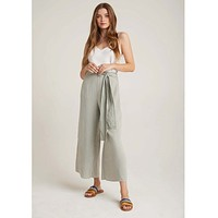Belted High Waisted Crop Pant Worn Olive