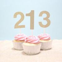 Number One / Custom Age Gold Glitter Cupcake Toppers - For Birthday, Baby Shower, Gold Theme Birthday (Set of 12)