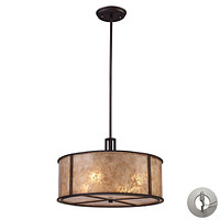 Barringer 4-Light Chandelier in Aged Bronze with Tan Mica Shade - Includes Adapter Kit