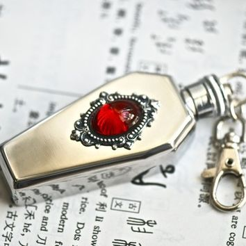 Vampire Royalty Stainless Steel Coffin Flask Key Chain - VIctorian Goth  Vintage Swarovski Cameo - MADE IN USA stamping
