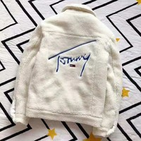 Tommy Autumn And Winter High Quality New Fashion Back Embroidery Letter Keep Warm Long Sleeve Coat Top White