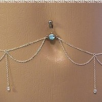 Body Accentz® Belly Button Ring Navel Body Jewelry Dangle Waist Chain 14 Gauge PP121