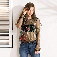 Embroidered Floral See-through Top