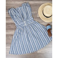 Free People - Roll The Dice Striped Mini Dress in Blue