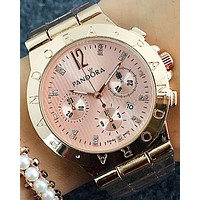 Pandora 2018 men and women couple models wild three-eye waterproof quartz watch F-Fushida-8899 Rose gold watchband + rose gold case + rose gold dialc