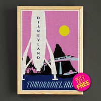 Vintage Disneyland Tomorrowland Rocket Attraction Poster Reprint Home Wall Decor Gift Linen Print - Buy 2 Get 1 FREE - 381s2g