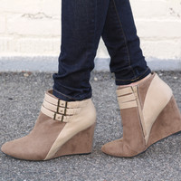 """Marilyn"" Suede Wedge Booties with Leather Contrast Ankle Straps - Camel"