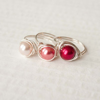 Pink, Red Pearl Ring, Wire Wrapped, Bridesmaid Jewelry