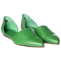 Grass Green Leather D'Orsay Flat