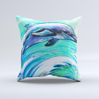Pastel Vibrant Blue Dolphin ink-Fuzed Decorative Throw Pillow