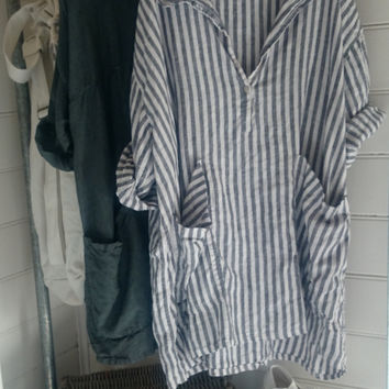 Navy and White Striped Linen Dress One size Fits Most