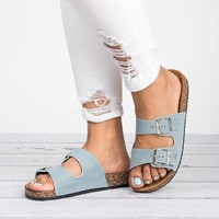 Double Buckle Sandals - Light Blue Denim