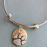 Silver Clemson University Inspired by Alex and Ani  Bracelet,  FAST Shipping,  Celebrate your love for the Tigers and Death Valley