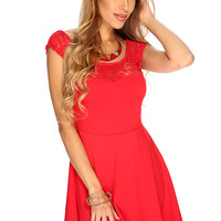 Red Lace Sleeveless Summer A-Line Party Dress