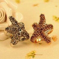 MagicPieces Rhodium Plated Alloy Luxury Full Rhinestone Starfish Ring for Women Color Silver & Rose Gold in US 6 and US 7