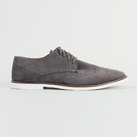 Brixton Grey Suedette Brogue Desert Shoes - Topman