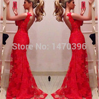 Lady LongBall Prom Gown Formal Party Lace Dress Red V Neck Backless Lace Long Dress for women summer party maxi dresses