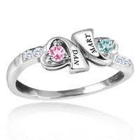 Couple's Double Heart Birthstone and Diamond Accent Ring in 10K Yellow or White Gold (2 Names and Stones) - View All Personalized Jewelry - Zales