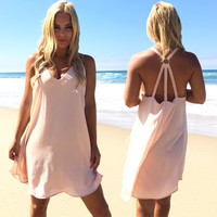 Trio Shift Dress In Blush Pink